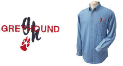 E 1 - Greyhound Paw Denim Shirt (E1)