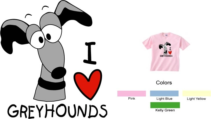 P-29 - I LOVE Greyhounds Toddler T-Shirt (P29)