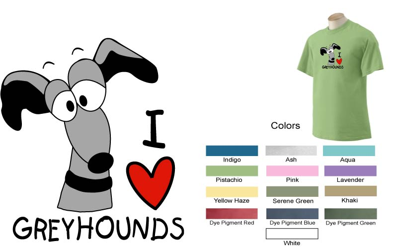 P-29 - I LOVE Greyhounds T-Shirt (P29)