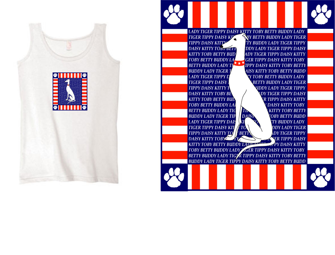 PT-4 - Paws & Stripes PERSONALIZED Ladies Tank
