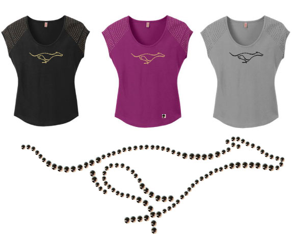 R-1 - Rhinestud Greyhound on Ladies Bling T-Shirt