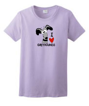 P-29 - I LOVE Greyhounds Ladies T-Shirt (P29)