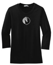 R-10 - Yin Yang Greyhound Heads 3/4 Sleeve T-shirt